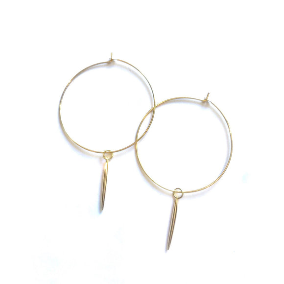 Amie Gold Drop Hoop Earrings