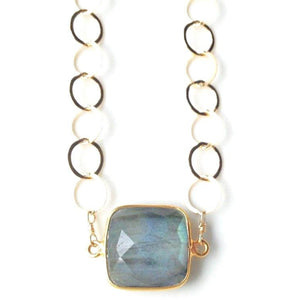 Amia Labradorite Gold Circle Necklace