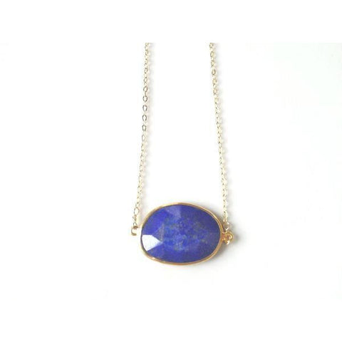Grace Large Lapis Bezel Pendant Necklace