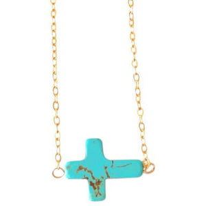 Lauren Side Cross Turquoise Necklace