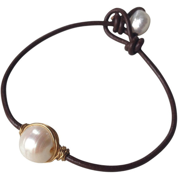 Leah Pearl Leather Bracelet