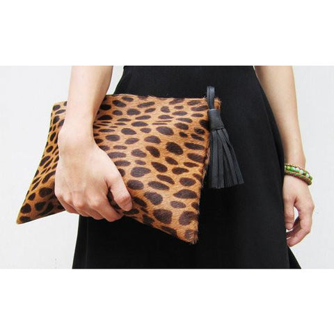 Lynn Cowhide Animal Print Clutch Handbag