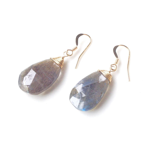 Olivia Pearl or Labradorite Drop Earrings