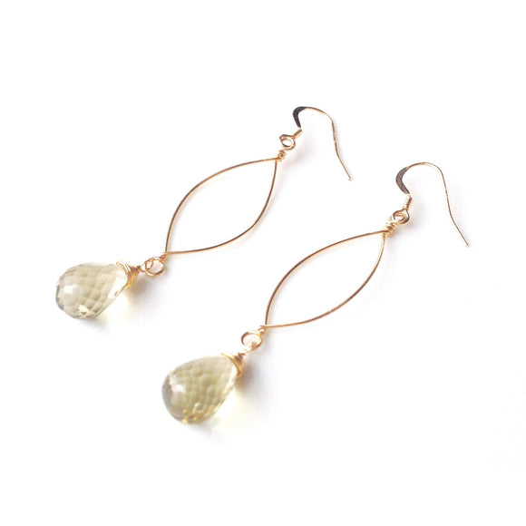 Siena Petite Lemon Quartz Drop Gold Earrings