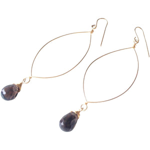 Siena Smoky Quartz Large Oval Earrings