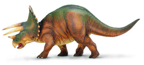 "Triceratops, the ""Three-Horned Face"" Dinosaur was a plant eater who lived in Western North America more than 60 million years and grew to a length of 28 feet. Kids Dinosaur of the Month Club brings you this hand-painted, lead-free Triceratops measuring 8 inches long by 2 and 3/4 inches high."