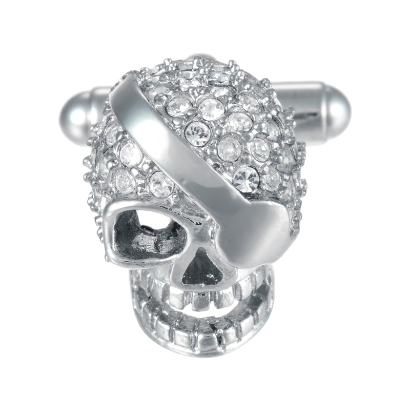 Eye Patch Skull Cufflinks with Crystal Accents