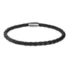 Men's Leather Cord Bracelet with Magnetic Closure (Black)