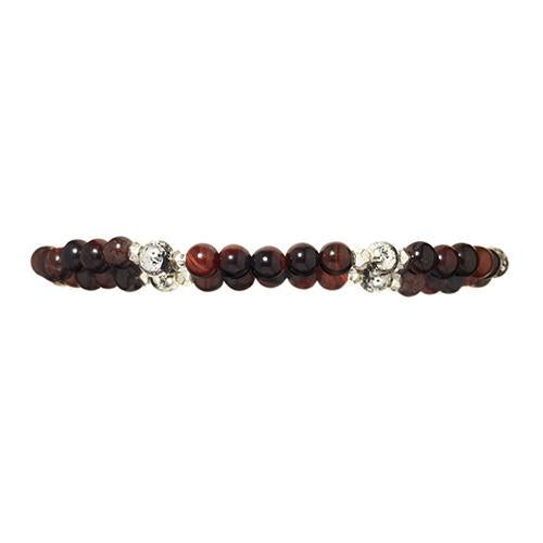 4mm Red Tiger's Eye Gemstone and Lava Bead Elastic Bracelet