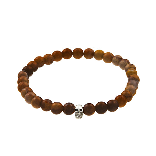 Gemstone Bead Elastic Bracelet with Sterling Silver Skull