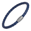 Men's Leather Cord Bracelet with Magnetic Closure (Royal Blue)