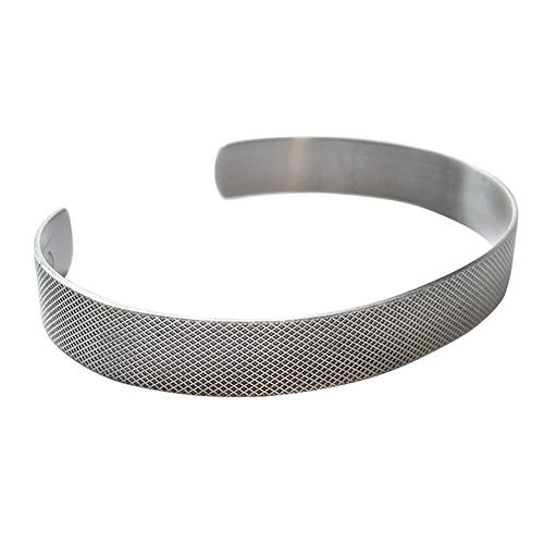 Etched Mesh Pattern Adjustable Sterling Silver Cuff Bracelet