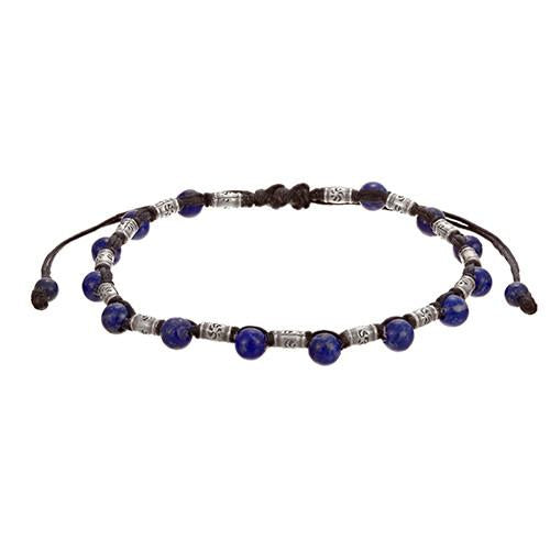 Lapis Gemstone and Rivet Bead Pull Cord Sterling Silver Bracelet