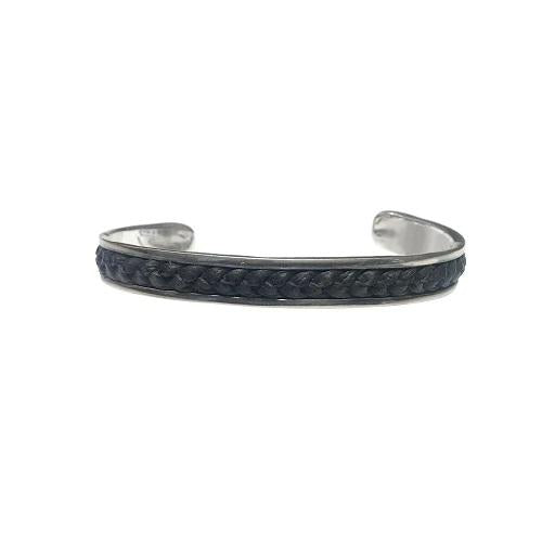 Leather Adjustable Cuff Sterling Silver Bracelet