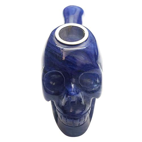 Carved Glass Skull Pipe
