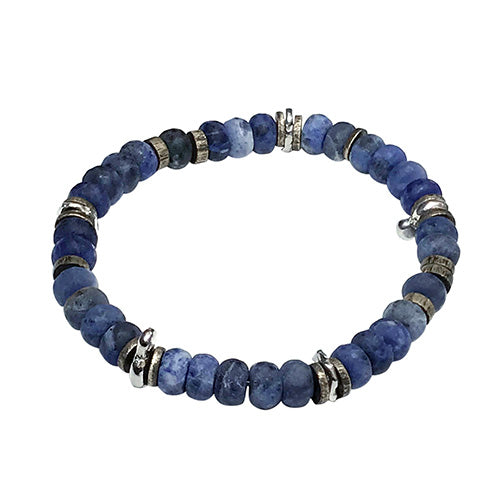 Matte Lapis Power Gemstone Bead Elastic Bracelet