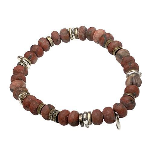 Matte Red Tigers Eye Power Gemstone Bead Elastic Bracelet