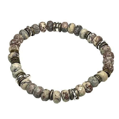 Matte Rhodonite Power Gemstone Bead Elastic Bracelet