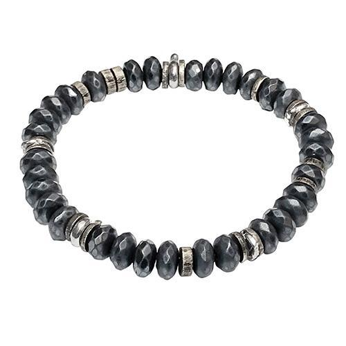 Faceted Hematite Power Gemstone Bead Elastic Bracelet