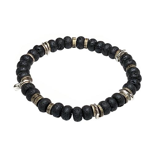 Lava Stone Power Gemstone Bead Elastic Bracelet
