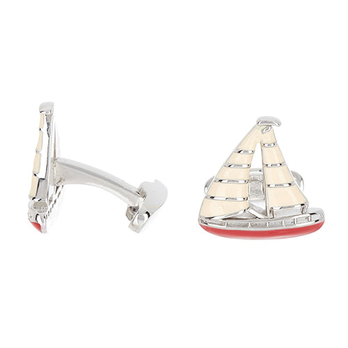 Red Painted Enamel Sailboat Cufflinks