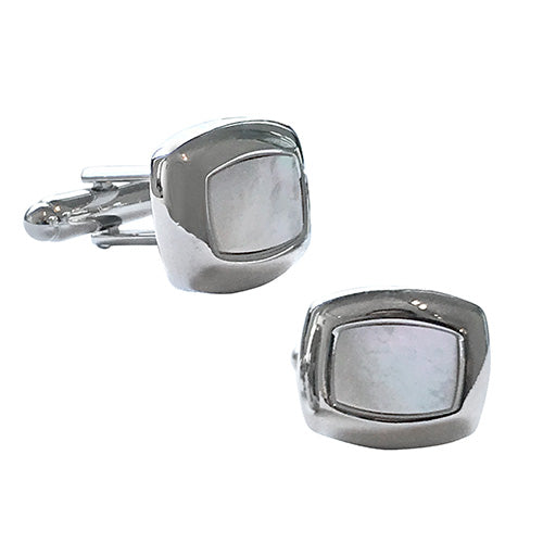 Mother of Pearl Curved Rectangle Cufflinks