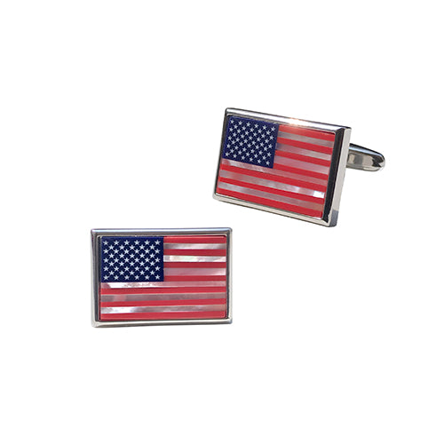 American Flag Mother of Pearl Cufflinks