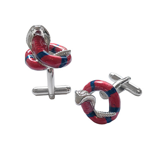 Coiled Cobra Snake Cufflinks
