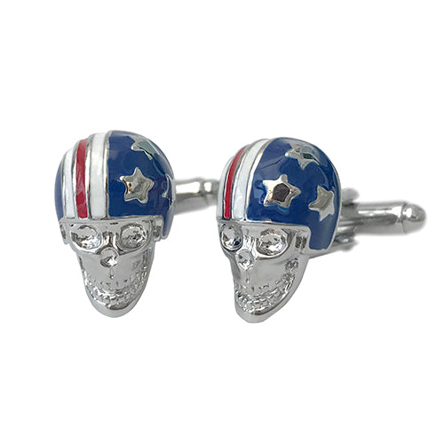Skull with American Flag Helmet Cufflinks