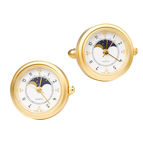 Gold Tone Sun and Moon Working Watch Cufflinks with White Face