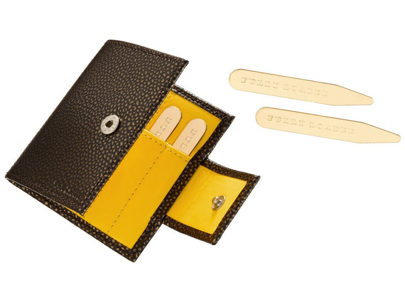 Brown Leather Collar Stay Case with Yellow Lining