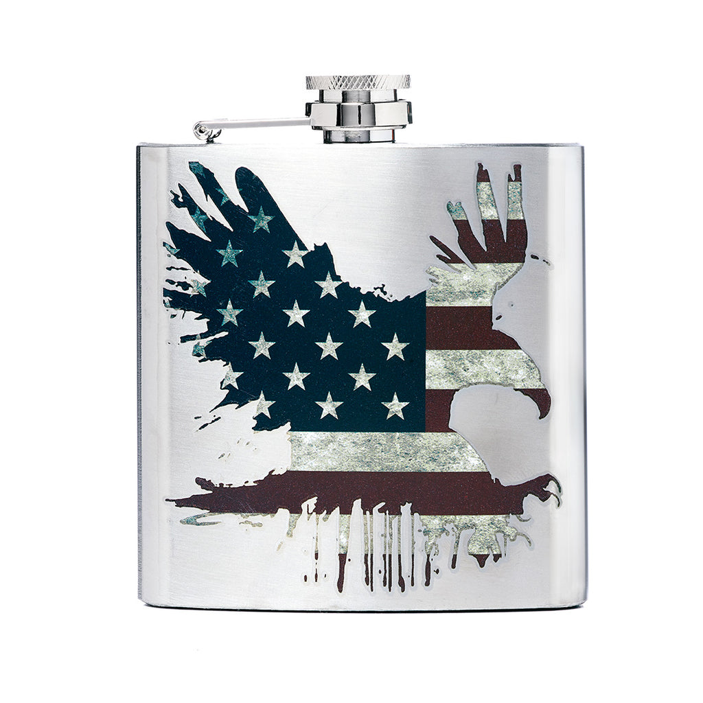 American Flag Bald Eagle Printed Stainless Steel Flask