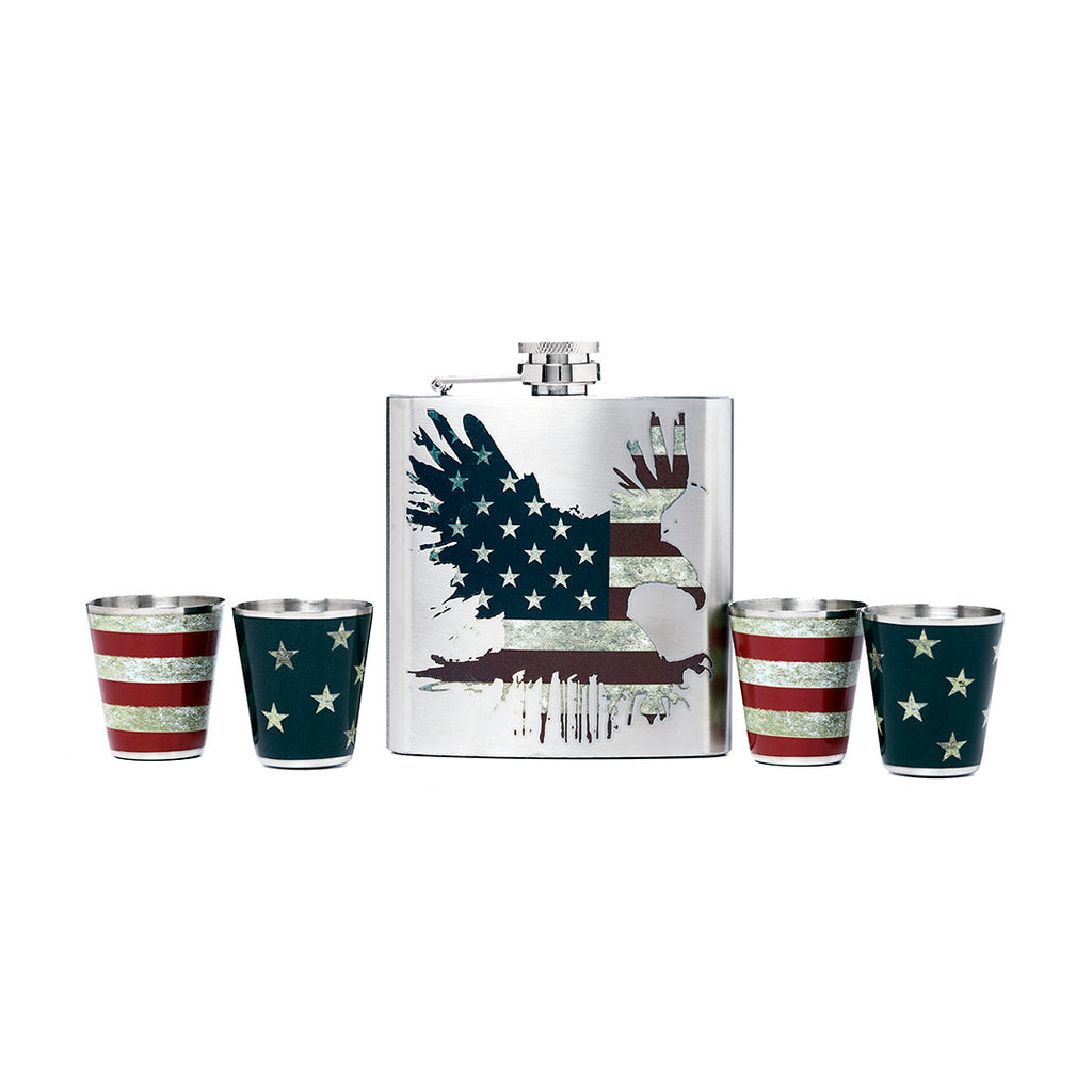 American Flag Bald Eagle Printed Stainless Steel Flask and Shot Glass Set