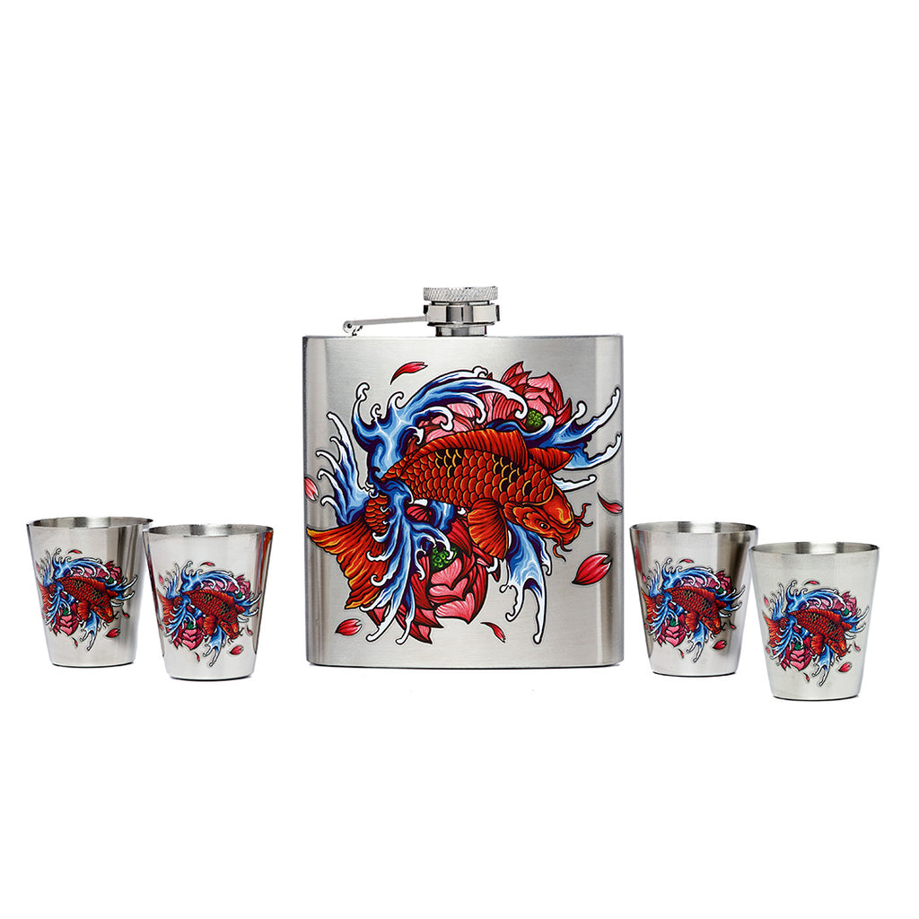 Colorful Koi Printed Stainless Steel Flask and Shot Glass Set