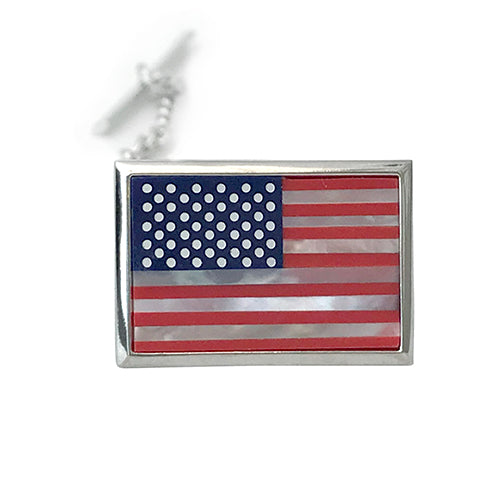 American Flag Mother of Pearl Lapel Pin