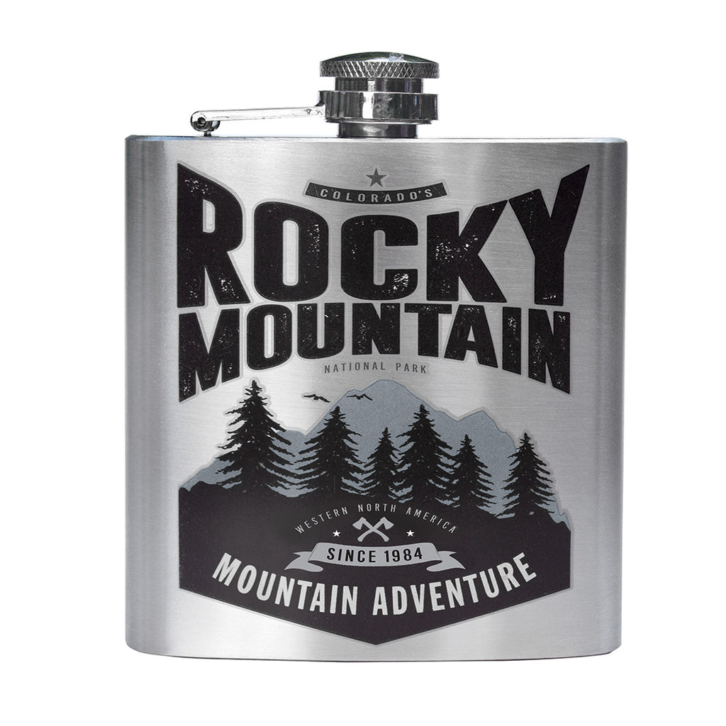 Rocky Mountain Printed Stainless Steel Flask