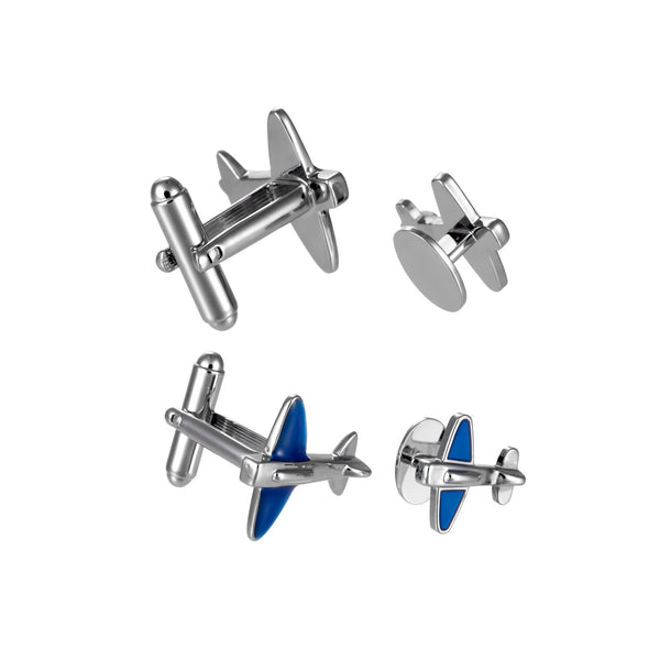 Blue Airplane Cufflinks and Tuxedo Studs