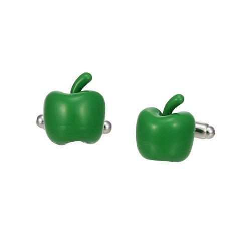 Brilliantly Colored Apple Cufflinks in Dark Green by LINK UP