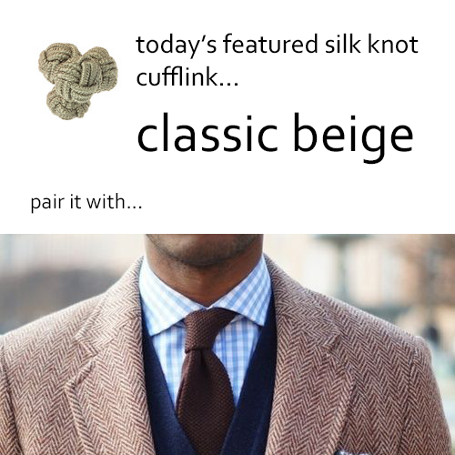 Beige Silk Knot Cufflinks by Link Up