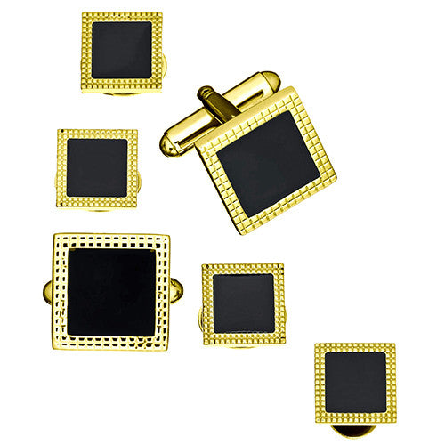 Black Square Cufflinks and Tuxedo Studs