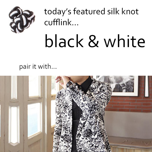 Black and White Silk Knot Cufflinks by Link Up