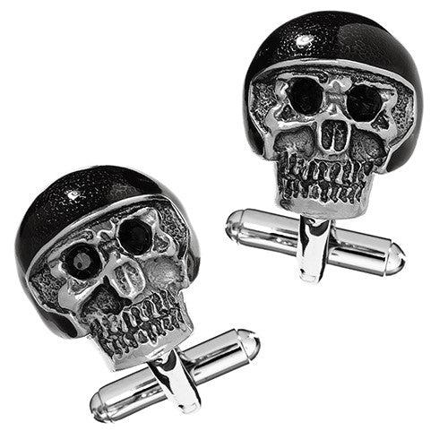 Moto Skull Cufflinks with Black Helmet and Crystal Eyes