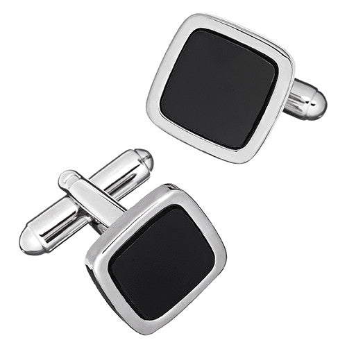 Enamel Soft Square Cufflinks in Black or White