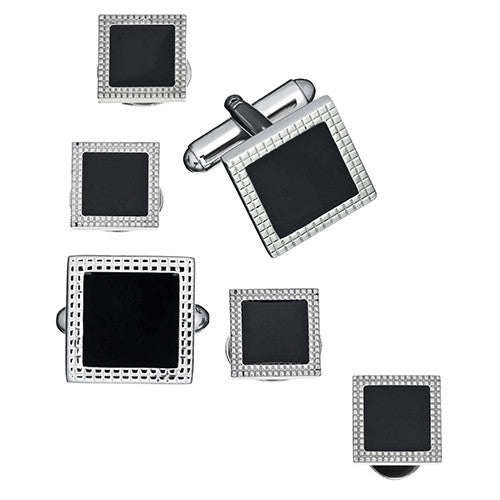 Black Square Cufflinks and Tuxedo Studs in Epoxy and Silver-Tone by LINK UP