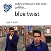 Blue Twist Silk Knot Cufflinks by Link Up