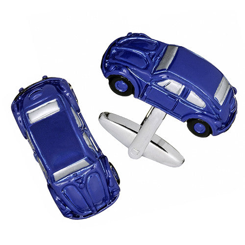 Navy Blue Beetle Car Cufflinks