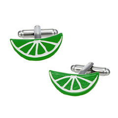 Citrus Slice Cufflinks in Dark Green by LINK UP