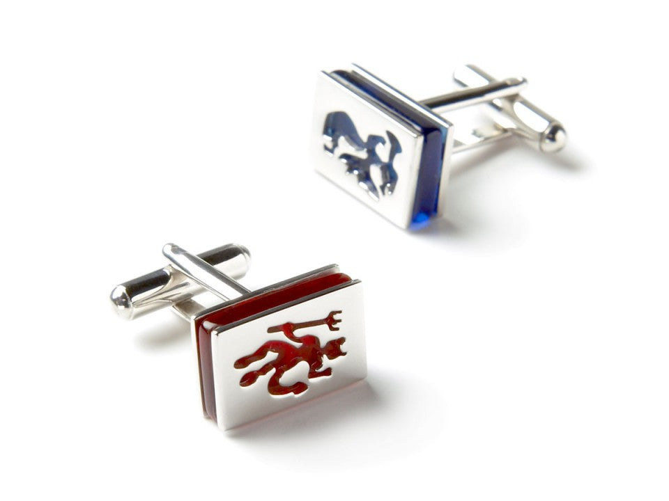 Devil and Angel Red/Blue Glass Cufflinks