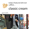 Classic Cream Silk Knot Cufflinks by Link Up