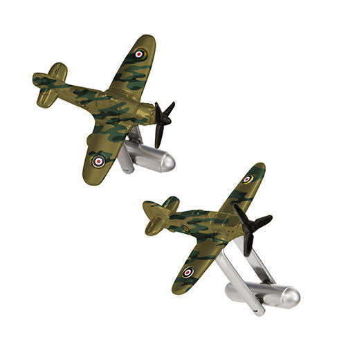 Vintage Inspired Fighter Plane Cufflinks in Camo by LINK UP